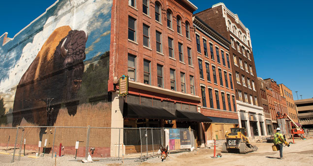 A bison mural anchors The Landing, a revitalization of Columbia Street opening in 2019